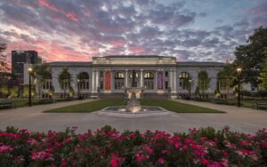 photo of Main Library with sunset